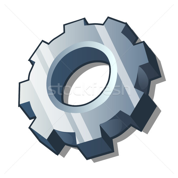 Steel gear isolated on a white background. Cartoon vector close-up illustration. Stock photo © Lady-Luck