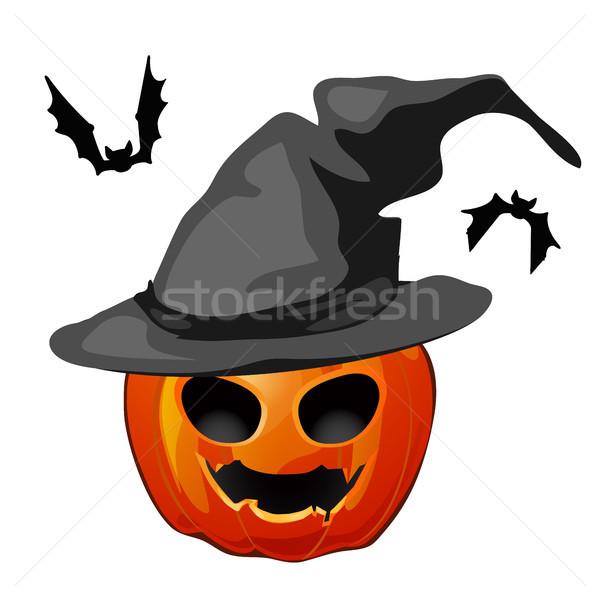 Dynia kapelusz czarownicy odizolowany biały wakacje halloween Zdjęcia stock © Lady-Luck