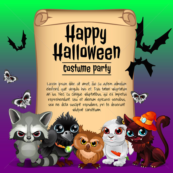 Poster on theme of the Halloween holiday. Sketch with space for text on old paper sheet. Vector illu Stock photo © Lady-Luck