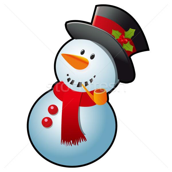 Hóember piros sál fekete henger kalap Stock fotó © Lady-Luck