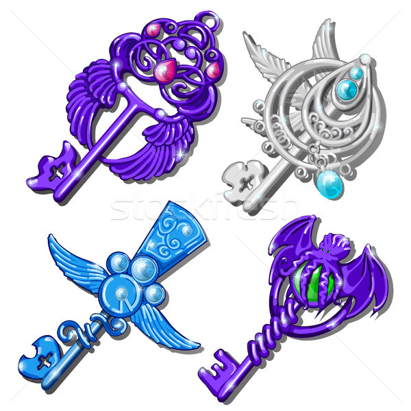 Fancy a set of keys isolated on a white background. Vector cartoon close-up illustration. Stock photo © Lady-Luck