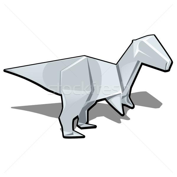 Рисунок динозавр оригами стиль изолированный белый Сток-фото © Lady-Luck