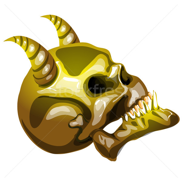 Stock photo: The Golden skull of the devil in profile isolated on white background. Vector cartoon close-up illus
