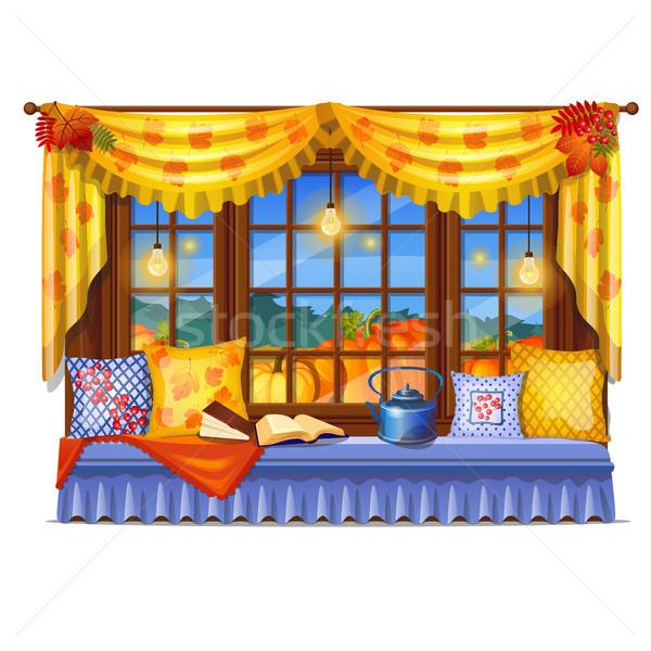 Confortável interior casa janela noite ver Foto stock © Lady-Luck