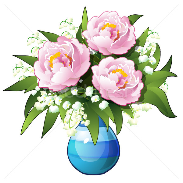 Bouquet of flowers lilies of the valley and peonies in a blue vase isolated on white background. Vec Stock photo © Lady-Luck