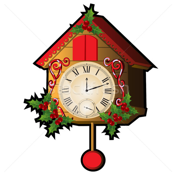 Cuckoo clock decorated with leaves and berries Holly isolated on a white background. Sketch for gree Stock photo © Lady-Luck