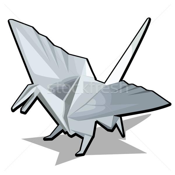 Сток-фото: Рисунок · дракон · оригами · стиль · изолированный · белый