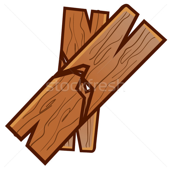 Two broken planks isolated on white background. Karate competitions. Vector cartoon close-up illustr Stock photo © Lady-Luck