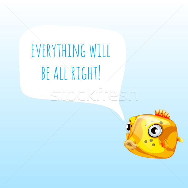 Funny poster with marine yellow boxfish or Ostracion cubicus and the words everything will be all ri Stock photo © Lady-Luck