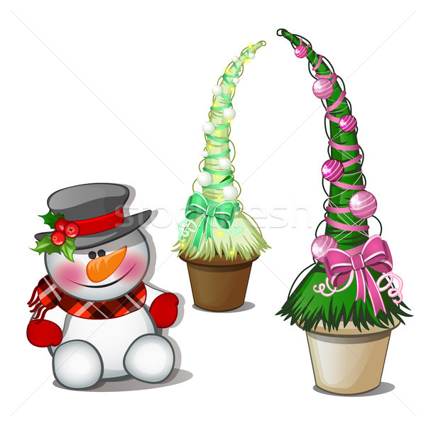 Snowman in black top hat and topiary in the form of a cone Christmas tree with balls. Sketch for gre Stock photo © Lady-Luck