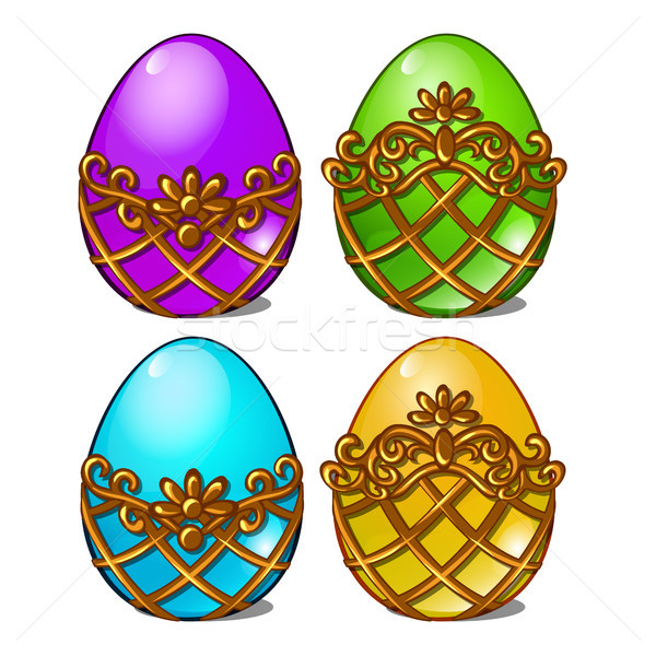 A set of multicolored eggs in a golden frame isolated on white background. Vector cartoon close-up i Stock photo © Lady-Luck