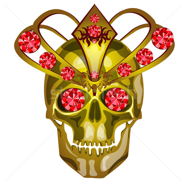Golden human skull decorated with gold and inlaid with rubies, isolated on white background. Vector  Stock photo © Lady-Luck