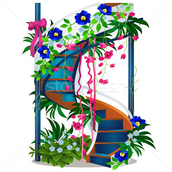 A beautiful spiral staircase with flowers isolated on white background. Vector cartoon close-up illu Stock photo © Lady-Luck
