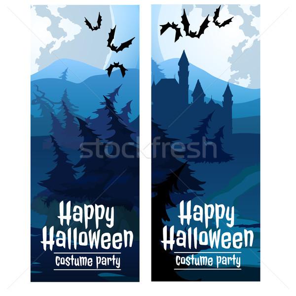 Zwei vertikalen Karten Halloween Urlaub Mond Stock foto © Lady-Luck