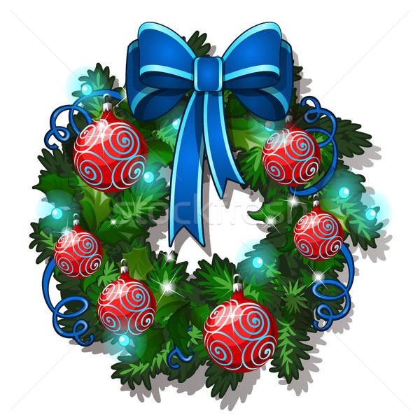 Noël croquis couronne sapin décoré verre Photo stock © Lady-Luck