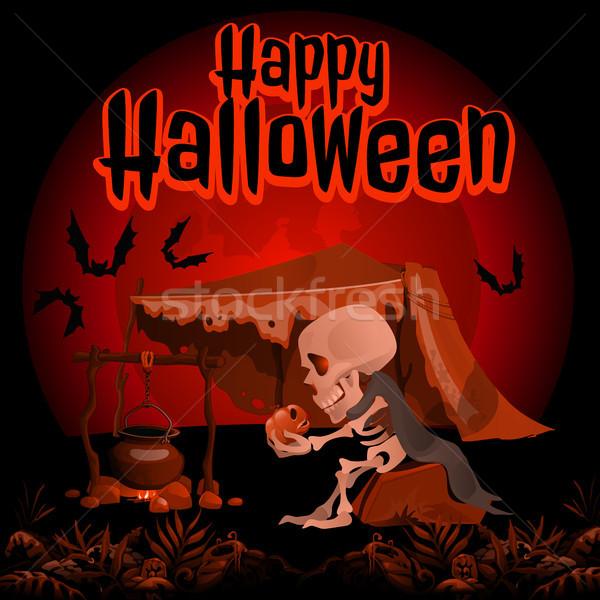 Foto stock: Cartaz · halloween · férias · vetor · desenho · animado