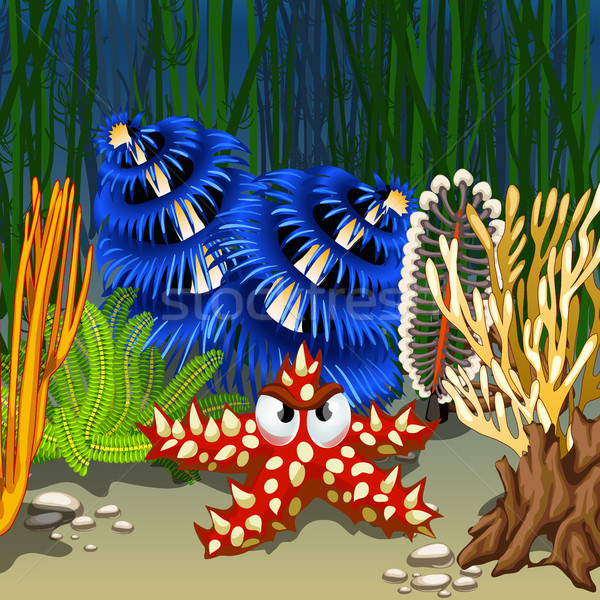 Stock photo: Cartoon starfish red with prickly thorns on the seabed among corals and algae. Vector cartoon close-