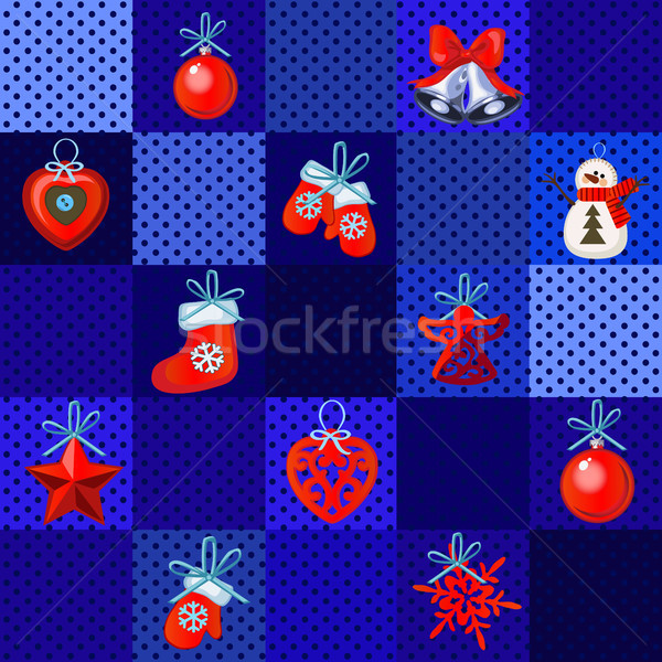 Funny poster, cover or party invitation with Christmas handmade gifts and baubles. Sketch for sticke Stock photo © Lady-Luck
