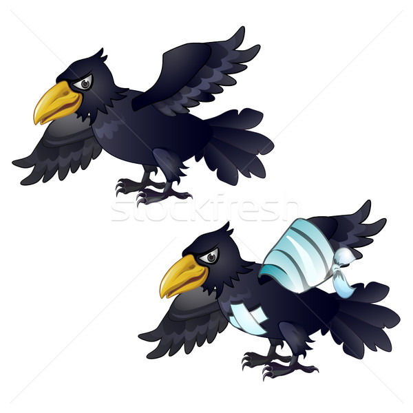 Healthy and diseased crow isolated on white background. Vector cartoon close-up illustration. Stock photo © Lady-Luck