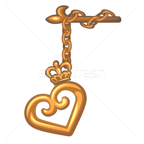 Decorative pendant on the curtain rod of a gold heart isolated on white background. Vector cartoon c Stock photo © Lady-Luck