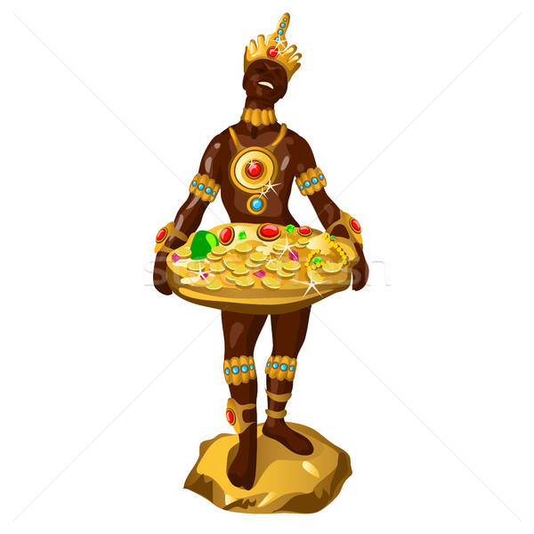 Statuette in the form of a dark-skinned man with a tray of golden jewelry isolated on a white backgr Stock photo © Lady-Luck