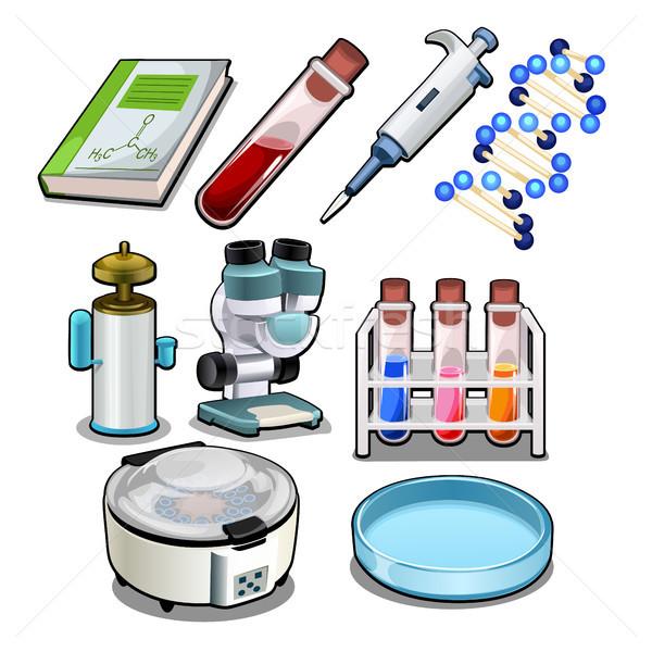 Foto stock: Conjunto · objetos · químico · laboratório · isolado · branco