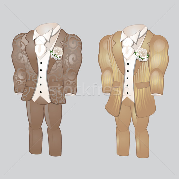 Set of animated mens clothing. Groom suit for wedding celebration isolated on a gray background. Vec Stock photo © Lady-Luck