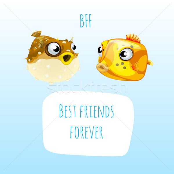 Funny poster with the image of two marine fish and the words best friends forever. Sample design of  Stock photo © Lady-Luck
