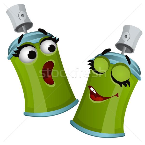 Conjunto engraçado risonho verde aerossol estanho Foto stock © Lady-Luck