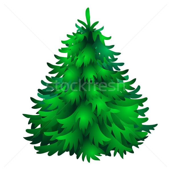 Christmas tree isolated on white background. Sketch for greeting card, festive poster or party invit Stock photo © Lady-Luck