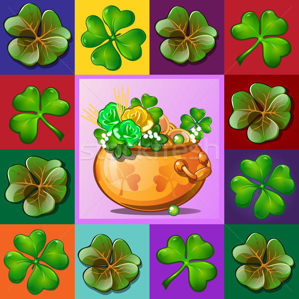 Stylish poster or card with leaves of trefoil and quatrefoil isolated on multicolored background. Th Stock photo © Lady-Luck