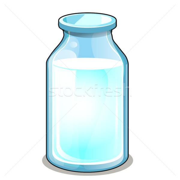 Glass transparent bottle with white liquid isolated on white background. Vector cartoon close-up ill Stock photo © Lady-Luck