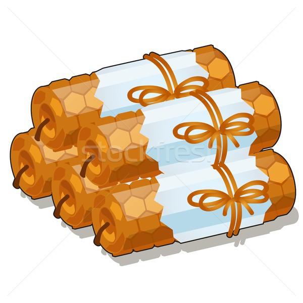 Ingesteld handgemaakt kaarsen geïsoleerd witte vector Stockfoto © Lady-Luck