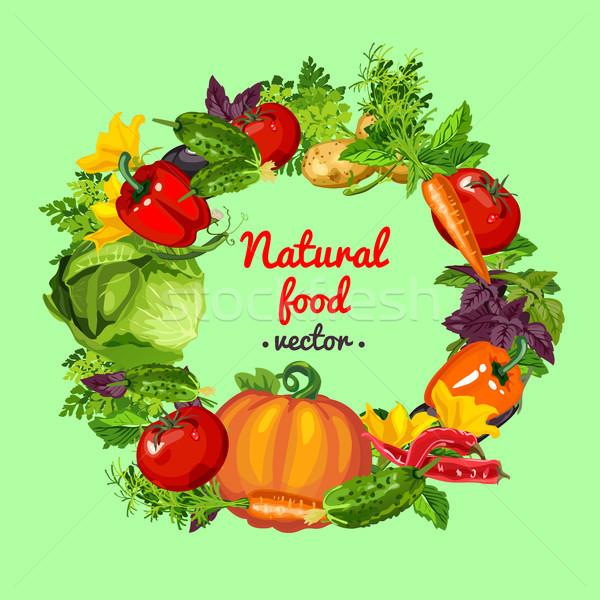 плакат кадр свежие все овощей здорового Сток-фото © Lady-Luck
