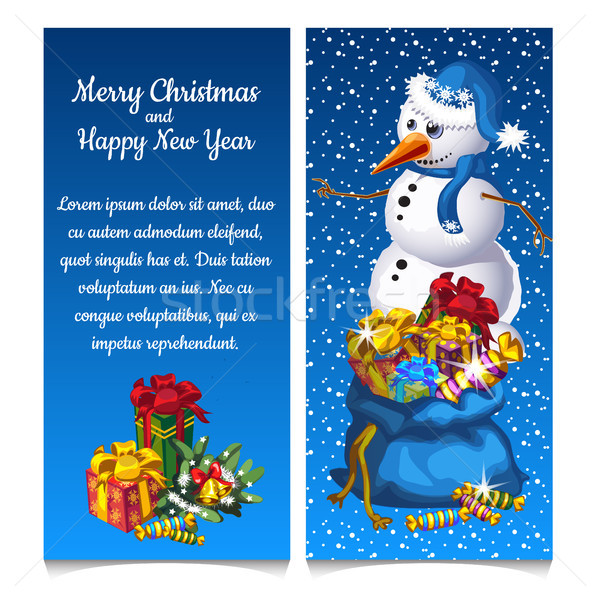 Dual vertical card with snowman with bag of gifts. Sketch for greeting card, festive poster or party Stock photo © Lady-Luck