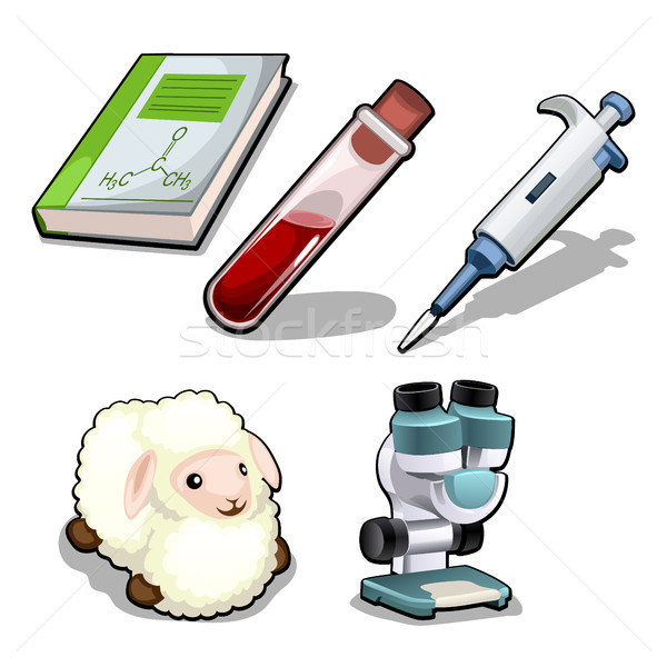 The set of items on the topic of genetic laboratory isolated on white background. Vector cartoon clo Stock photo © Lady-Luck