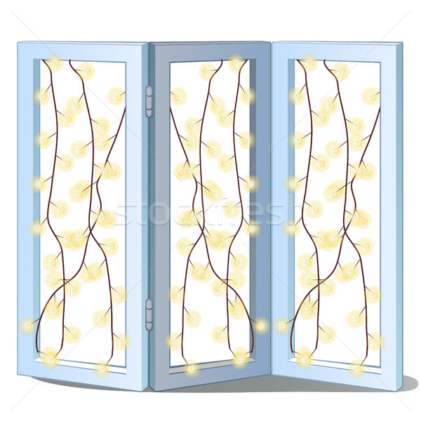 Folding screen with sparkling garlands isolated on white background. Ideas festive interior. Attribu Stock photo © Lady-Luck