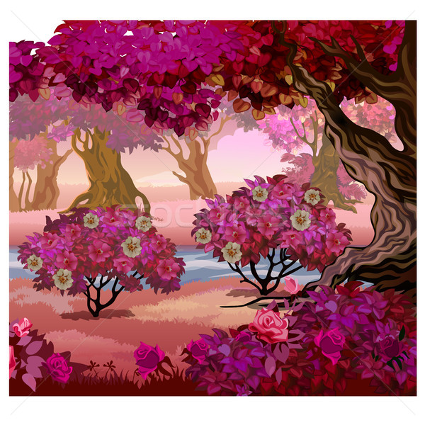 Fairy forest with pink trees. Fantasy nature. Vector illustration. Stock photo © Lady-Luck