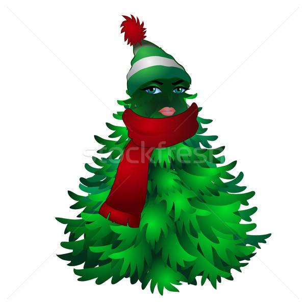 Karácsonyfa női arc csíkos kalap sál izolált Stock fotó © Lady-Luck