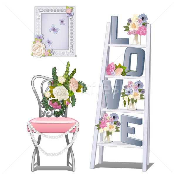 Interior design in the room of the newlyweds. Vector illustration. Stock photo © Lady-Luck
