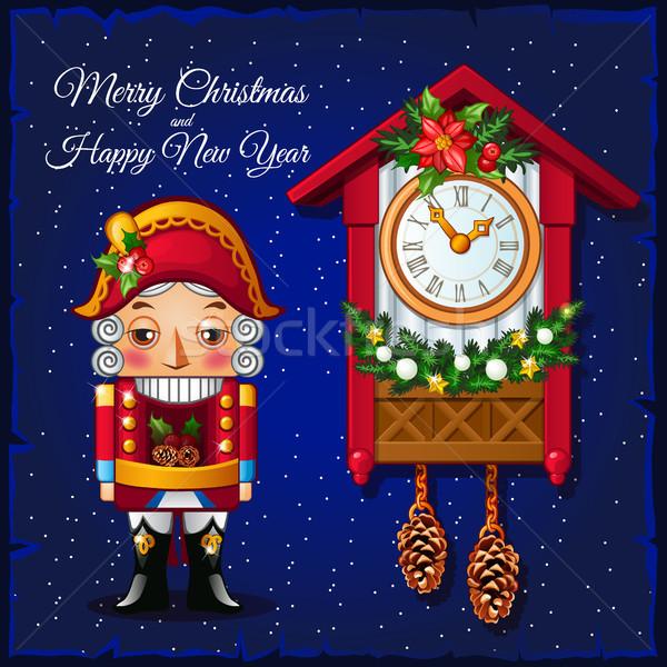 Sjabloon christmas wenskaart vintage koekoek Stockfoto © Lady-Luck