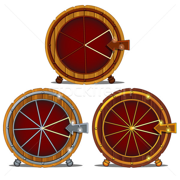 A set of wooden wheel of fortune isolated on a white background. Vector illustration. Stock photo © Lady-Luck