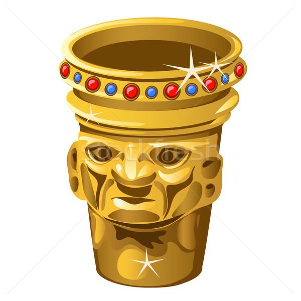Stock fotó: Kisebbségi · arany · váza · emberi · arc · izolált