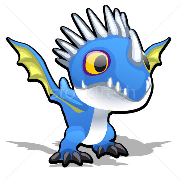 Toy dragon in blue color isolated on white background. Vector cartoon close-up illustration. Stock photo © Lady-Luck