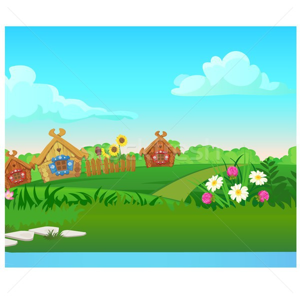 Cute poster with wooden country houses, grassy meadow. Vector cartoon close-up illustration. Stock photo © Lady-Luck