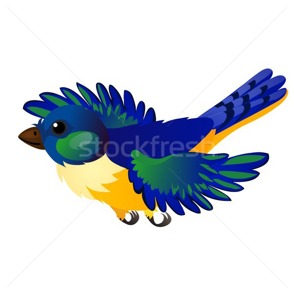 Blue flying animated bird isolated on white background. Vector cartoon close-up illustration. Stock photo © Lady-Luck