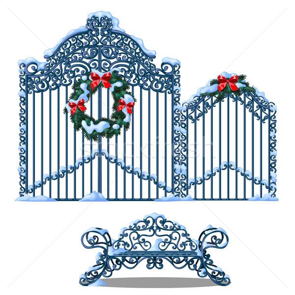 Ayarlamak Metal elemanları çit kapı kapalı Stok fotoğraf © Lady-Luck
