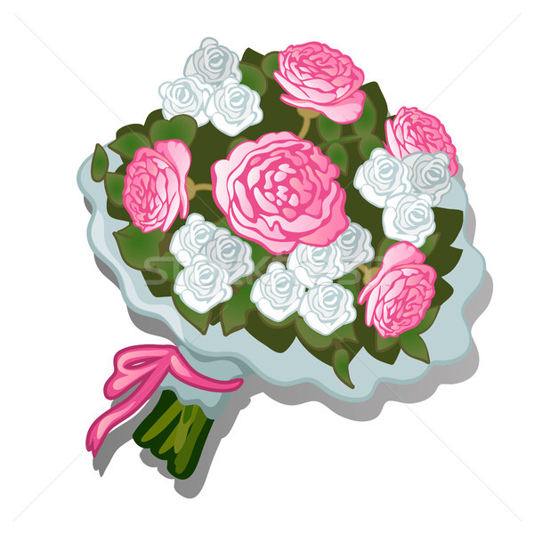 A lush bouquet of flowers tied with pink ribbon isolated on white background. Vector cartoon close-u Stock photo © Lady-Luck