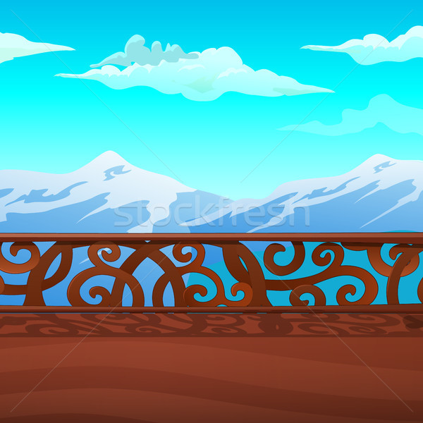 Mountain views from the balcony with ornate balustrade. Vintage architecture. Vector cartoon close-u Stock photo © Lady-Luck