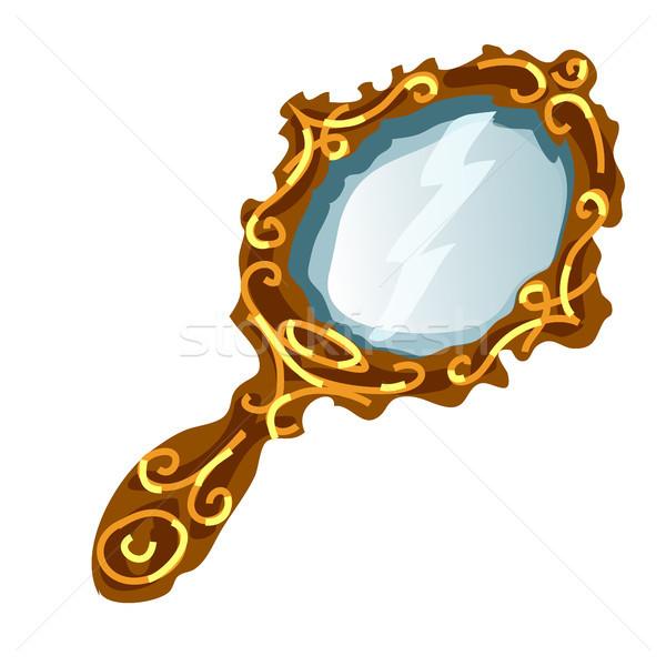 Vintage espelho ouro quadro manusear isolado Foto stock © Lady-Luck